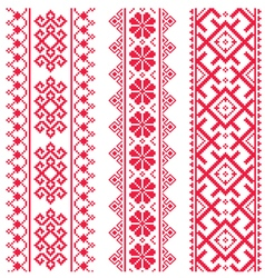 Ukrainian Belarusian red embroidery pattern vector
