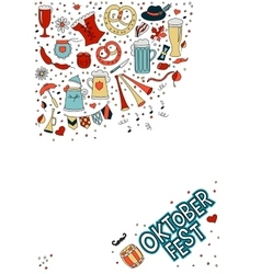 White template in doodle style for beer festival vector image