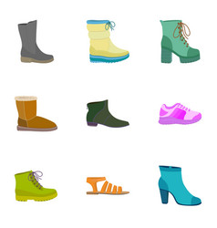 woman shop shoes icon set flat style vector image