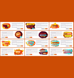 big set of fall autumn sale web posters promo ads vector image