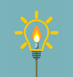 candle on light bulb vector image vector image