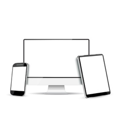 Computer Screen Tablet PC and Mobile Phone vector image