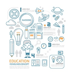 Flat mono line Infographic Education People concep vector image vector image