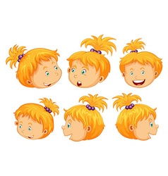 Girl with different facial expressions vector image vector image