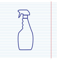 plastic bottle for cleaning navy line vector image