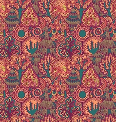 seamless pattern with hand drawn doodle trees vector image