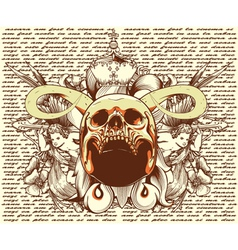 skull with floral and angels vintage t-shirt vector image vector image