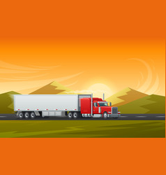 trailer truck long vehicle flat design vector image