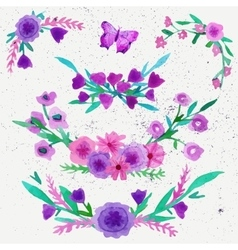 Watercolor flower laurel wreath set with butterfly vector image vector image