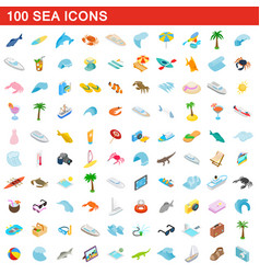 100 sea icons set isometric 3d style vector image vector image