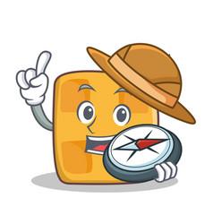 explorer waffle character cartoon design vector image vector image
