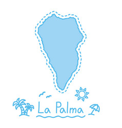 la palma island map isolated cartography concept vector image vector image
