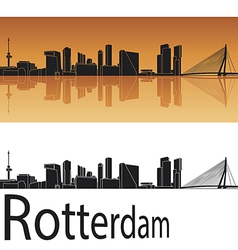 Rotterdam skyline in orange background vector image vector image