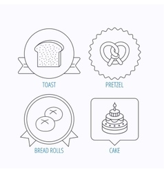 Cake pretzel and bread rolls icons vector image vector image
