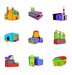 facility icons set cartoon style vector image vector image