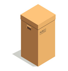 simple brown cardboard box with small signs and vector image vector image