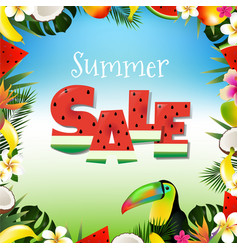 summer sale poster with toucan vector image vector image