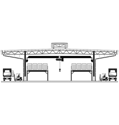 Warehouse logistic roofing design storage section vector image vector image