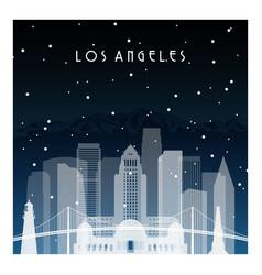 winter night in los angeles night city vector image