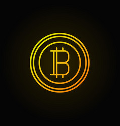 bitcoin golden linear icon crypto currency vector image