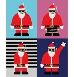 Cool santa with hipster glasses flat vector