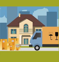 delivery service car with paper boxes vector image vector image