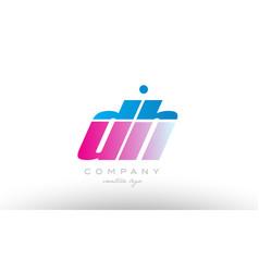 dh d h alphabet letter combination pink blue bold vector image vector image