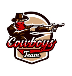 emblem logo cowboy shooting from two revolvers vector image