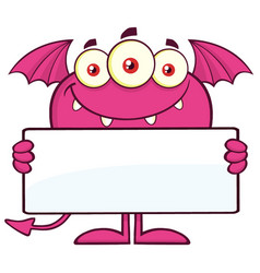 smiling pink monster cartoon character vector image vector image