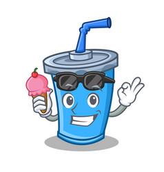 soda drink character cartoon with ice cream vector image