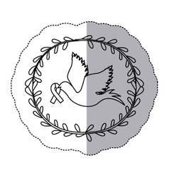 Sticker arch of leaves with silhouette pigeon wiht vector