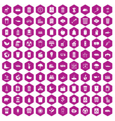 100 ecology icons hexagon violet vector
