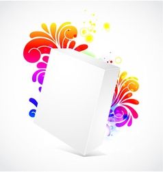 3d blanck box with floral background vector