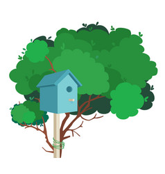 A blue nesting box on a tree vector