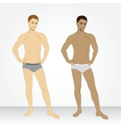 A young man in his underwear in full growth vector