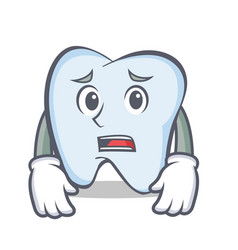 Afraid tooth character cartoon style vector
