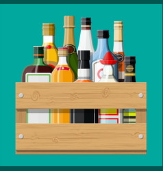 Alcohol drinks collection in box vector