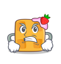 Angry waffle character cartoon design vector