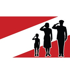 Austria soldier family salute vector