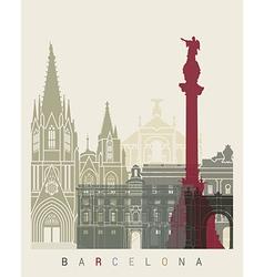 Barcelona skyline poster vector image