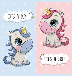 Bashower greeting card with unicorns boy and vector