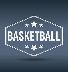 Basketball hexagonal white vintage retro style vector