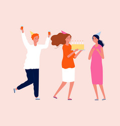 birthday celebrating friends with cake and drinks vector image