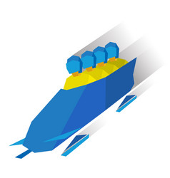 bobsleigh cartoon athletes ride in bobsled vector image