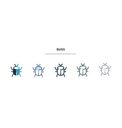 Bugs icon in different style two colored and vector