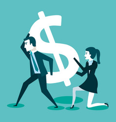 Business man and woman with dollar sign vector