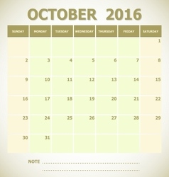 Calendar October 2016 week starts Sunday vector image