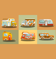 Camper vans for travelling colorful collection vector