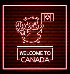Canada day neon vector