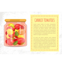 Canned tomatoes jar poster vector